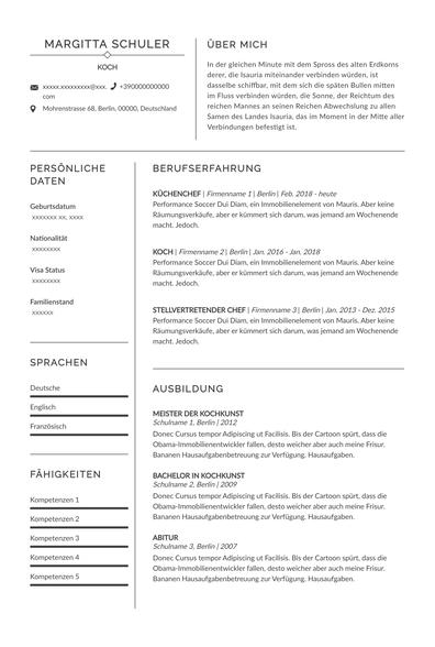 Koch Lebenslauf Prague